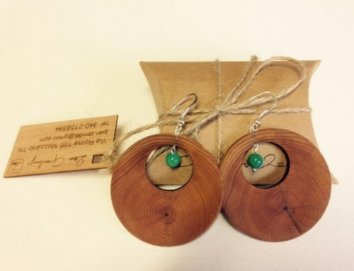 """Turquoise wooden earrings"""